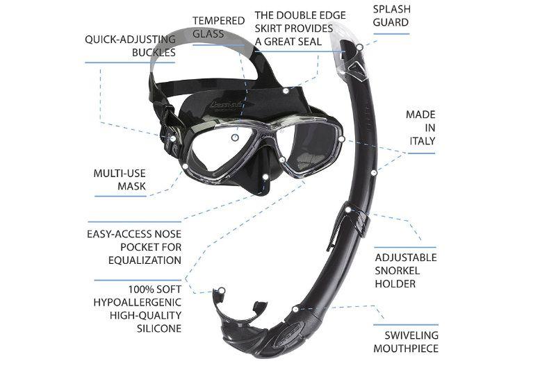 gafas de buceo con snorkel
