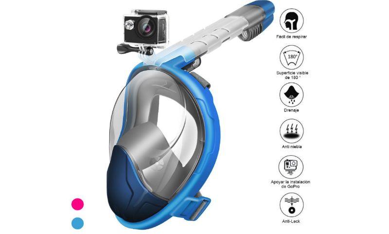 máscara de buceo plegable con snorkel y vista 180º